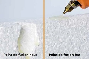 exemple d'applications de Colle thermofusible hot melt bas point de fusion sur du polystyrène