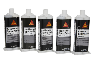 5 colles époxy marque SIKAPOWER de chez SIKA en cartouches 50 ml