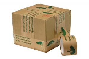 ruban adhésif imprimé écologique kraft 1 couleur présenté sur un carton