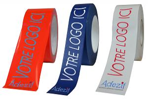 """scotch personnalisé en couleur : rouge, bleu ou blanc avec le texte """"votre logo ici"""" de couleur différente"""