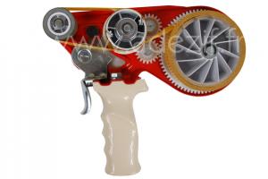 Dévidoir manuel métallique rouge et blanc pour ruban adhésif transfert 25 mm de large