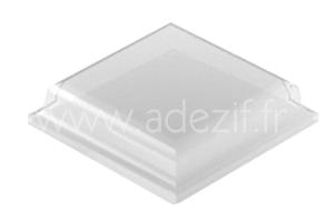 butée anti dérapante en polyuréthane, adhésive, transparente et de forme carrée