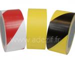 Ruban adhésif marquage au sol économique ADEZIF 8 hachuré rouge/blanc, jaune et hachuré jaune/noir